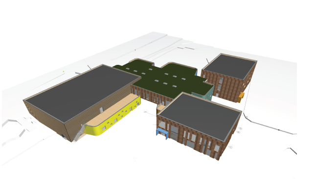 Skattekista er konseptnavnet på det nye skoleanlegget i Flesberg. Her er en foreløpig skisse som viser skolen og flerbrukshallen på utsiden. Flere, og detaljerte bilder vil bli publisert utover høsten.