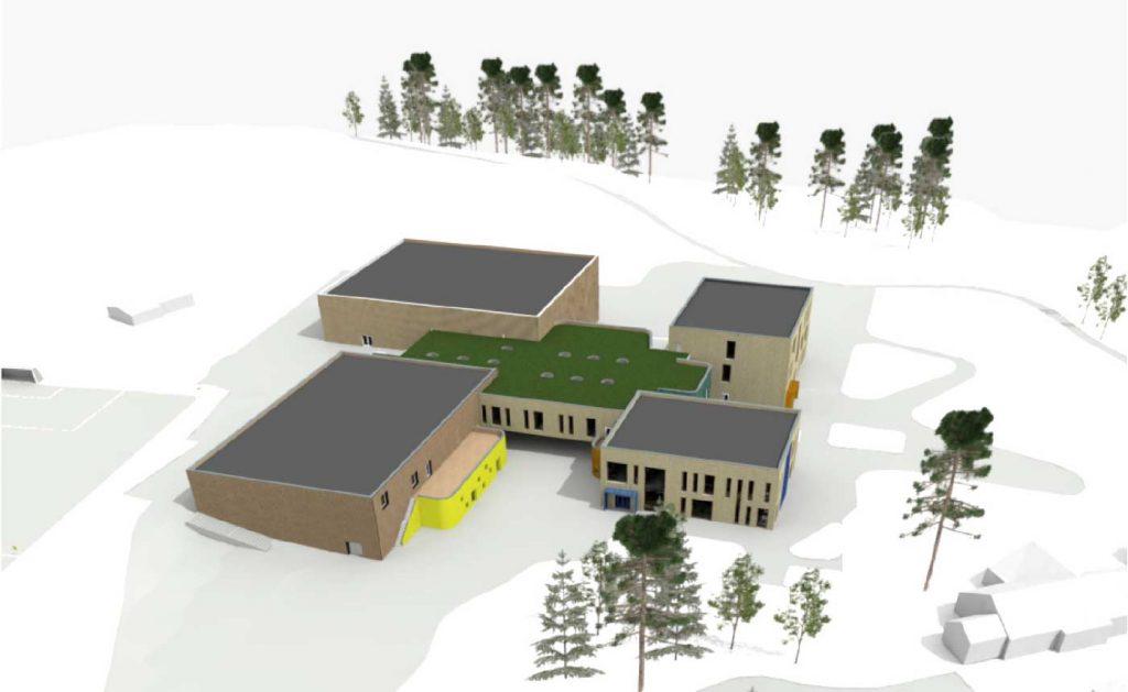 Her viser vi tre ulike fasadevinkler på det nye skoleanlegget på Stevningsmogen. Illustrasjon: Spinn Arkitekter