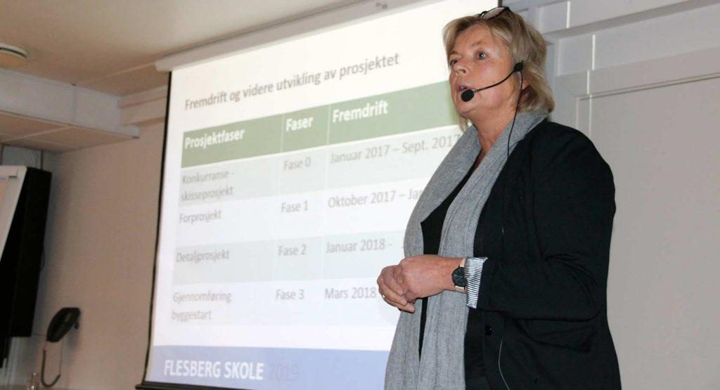 Prosjektleder Kristin Borander i WSP Norge gjennomgikk fremdriftsfasene for skoleanlegget på Stevingsmogen.