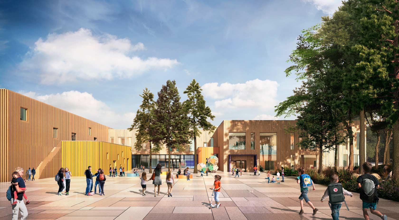 Slik tenker arkitektene at inngangspartiet til den nye skolen blir seende ut. Illustrasjon: SPINN Arkitekter