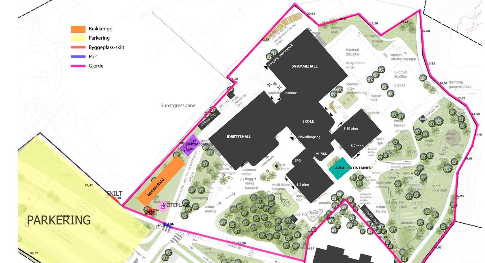 Denne skissen viser hvor brakkerigg, parkeringsplass og sikringsgjerder blir satt opp i forbindelse med byggingen av det nye skoleanlegget på Stevingsmogen.